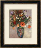 Bouquet of Flowers in a Vase Framed Giclee Print by Odilon Redon