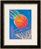 Basketball Going into Hoop Framed Giclee Print