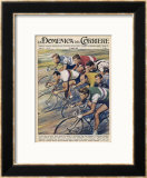 "Riders in the ""Giro d""Italia"" the Most Important Italian Cycle Race Framed Giclee Print by Walter Molini"