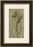 Nude Male Figure Seen Frontally, circa 1502-1506 Framed Giclee Print by  Michelangelo Buonarroti