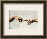 The Creation of Adam, Detail of God's and Adam's Hands, from the Sistine Ceiling Framed Giclee Print by  Michelangelo Buonarroti