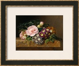 Bouquet of Pink Camellias and Primula on Marble Ledge Framed Giclee Print by Johan Laurentz Jensen