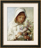 The Month of September, a Young Girl in White, Holding a Bunch of Flowers Framed Giclee Print by Carl Wilhelm Friedrich Bauerle