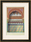 "Elevation of an Alcove in the Pateo Del Agua, Alhambra, from ""The Arabian Antiquities of Spain"" Framed Giclee Print by James Cavanagh Murphy"