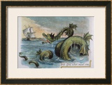 Sea Monster Looks at a Sailing Ship Framed Giclee Print by R. Andre