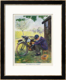"""The Finest of All Hobbies"", a Boy Tinkers with His Motor Bike Framed Giclee Print by Algernon Fovie"