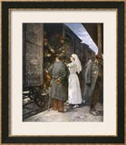 Wounded French Soldiers on an Ambulance Train are Tended by a Nurse During a Stop at a Station Framed Giclee Print by Henri Gervex