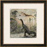 Dinosaurs of the Jurassic Period: a Stegosaurus with a Compsognathus in the Background Framed Giclee Print by A. Jobin
