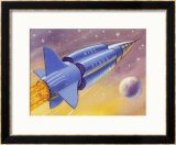 Interplanetary Omnibus Ferrying Passengers from One Space Destination to Another Framed Giclee Print