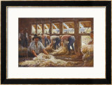 In an Australian Sheep Shearing Shed Framed Giclee Print by Percy F.s. Spence