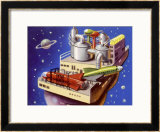 Service Station in Space for Refuelling and Repairing Interplanetary Craft Framed Giclee Print