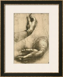 Study of Female Hands, Drawing, Royal Library, Windsor Framed Giclee Print by  Leonardo da Vinci