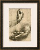 Study of Female Hands, Drawing, Royal Library, Windsor Framed Giclee Print by  Leonardo da Vinci