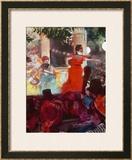 Cafe Concert Aux Ambassadeurs Framed Giclee Print by Edgar Degas
