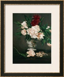 Vase with Peonies on a Pedestal, 1864 Framed Giclee Print by Édouard Manet