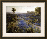 Field of Texas Bluebonnets and Prickly Pear Cacti Framed Giclee Print by Julian Robert Onderdonk