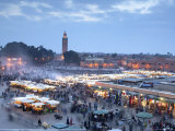 Djemma El Fna Square and Koutoubia Mosque at Dusk, Marrakech, Morrocco, North Africa, Africa Photographic Print by John Miller