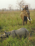 Tourists on Elephant Back Sighting Rhino, Chitwan National Park, Nepal Photographic Print by Claire Leimbach