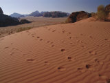 Footsteps, Desert Scenery, Wadi Rum, Jordan, Middle East Photographic Print by Fred Friberg