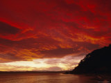 Red Sky, Sunset Over the Bay, Gisborne, East Coast, North Island, New Zealand, Pacific Photographic Print by D H Webster