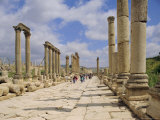 The Colonnaded Street, Cardo Maximus, in the Roman Ruins, Jerash, Jordan Photographic Print by Michael Short