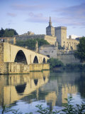 Papal Palace and Bridge Over the River Rhone, Avignon, Provence, France, Europe Photographic Print by John Miller