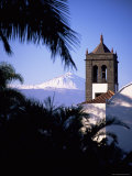 Church Tower with Mount Teide Behind, from Sauzal, Tenerife, Canary Islands, Spain, Atlantic Photographic Print by John Miller