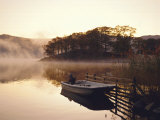 Early Morning Mist and Boat, Derwent Water, Lake District, Cumbria, England Photographic Print by Nigel Francis