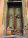 Doors and Broom, Ardez, Switzerland, Europe Photographic Print by John Miller