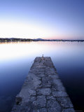 Stone Jetty at Dusk, Porto Colom, Majorca, Balearic Islands, Spain, Mediterranean, Europe Photographic Print by John Miller