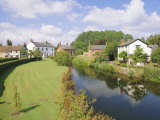Cottages and River Arrow from the Bridge, Eardisland, Herefordshire, England, UK, Europe Photographic Print by Pearl Bucknell