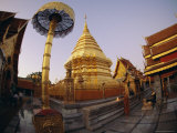 Buddhist Temple of Doi Suthep at Sunset, Chiang Mai, Chiang Mai Province, Thailand, Asia Photographic Print by Dominic Webster