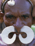 Portrait of an Asmat Man with Nose Ornament, Papua New Guinea, Pacific Photographic Print by Claire Leimbach