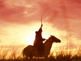 Profile of a Stockman on a Horse Against the Sunset, Queensland, Australia, Pacific Photographic Print by Mark Mawson