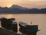 Boats on the Mekong River at Sunset, Luang Prabang, Laos, Indochina, Southeast Asia, Asia Photographic Print by Alison Wright
