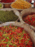 Chillies for Sale, Street Market, Bangkok, Thailand Photographic Print by John Miller