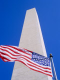 Memorial and the American Flag, the Stars and Stripes Flying in Washington DC, USA Photographic Print by Nigel Francis