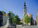 Poorters Loge and Jean Van Eyck Statue, Bruges, Belgium Photographic Print by Nigel Francis