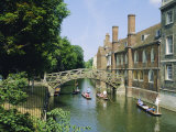 Mathematical Bridge and Punts, Queens College, Cambridge, England Photographic Print by Nigel Francis