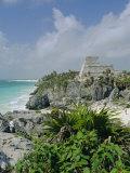 Mayan Archaeological Site, Tulum, Yucatan, Mexico, Central America Reproduction photographique par John Miller