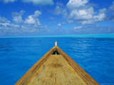 Boat on the Pacific Ocean, Bora Bora, Tahiti, Society Islands, French Polynesia, Pacific Photographic Print by Mark Mawson
