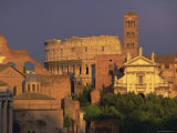 View Across the Roman Forum Towards Colosseum and St. Francesco Romana, Rome, Lazio, Italy, Europe Photographic Print by John Miller