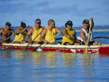 Traditional Sea Canoe Races, Rarotonga, Cook Islands, Polynesia, South Pacific Islands, Pacific Photographic Print by D H Webster