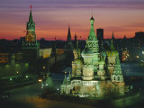 Sunset Over Red Square, the Kremlin, Moscow, Russia Photographic Print by D H Webster