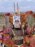 Dogon Tribesman Wearing Antelope Mask and Headress, Mali, Africa Photographic Print by Simon Westcott