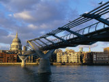 Millennium Bridge and St. Pauls, London, England Photographic Print by John Miller