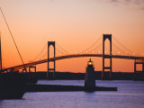 Newport Bridge and Harbor at Sunset, Newport, Rhode Island, USA Photographic Print by Fraser Hall