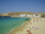 Plati Yialos Beach, Mykonos, Cyclades Islands, Greece, Europe Photographic Print by Fraser Hall