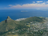 Aerial View Over Lion's Head from Table Mountain, Cape Town, South Africa Fotografisk tryk af Fraser Hall