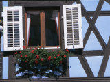 Window in Timbered House, Old Town, Ribeauville, Alsace, France, Europe Photographic Print by Guy Thouvenin